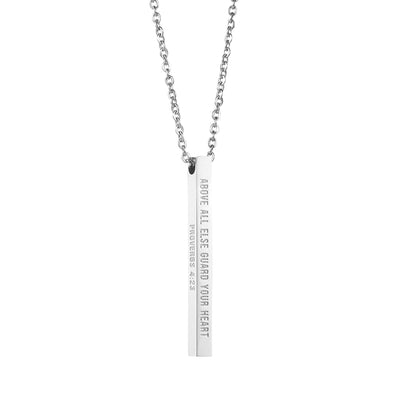 Above All Else Guard Your Heart Proverbs 4:23 Christain Bar Necklace