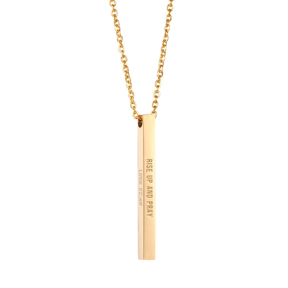 Rise Up and Pray Luke 22:46 Christain Bar Necklace