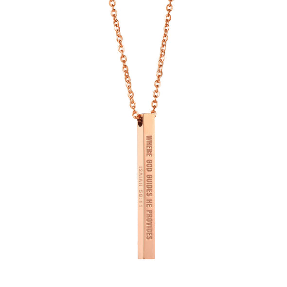 Where God Guides He Provides, Isaiah 58:11 Christain Bar Necklace