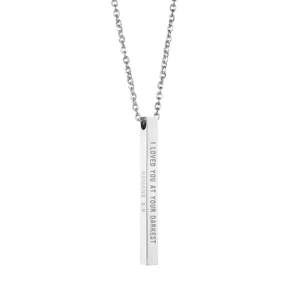 I Loved You at Your Darknest, Romans 5:8 Christian Bar Necklace