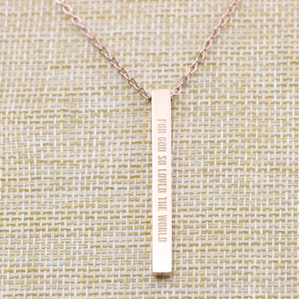 For God So Loved the World, John 3:16 Christain Bar Necklace