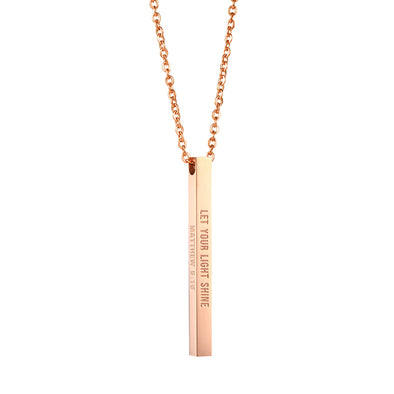 Let Your Light Shine, Matthew 5:16 Christain Bar Necklace