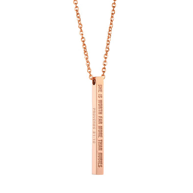 She is Worth Far More Than Rubies, Proverbs 31:10 Christain Bar Necklace