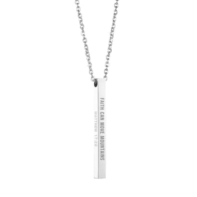 Faith Can Move Mountains, Matthew 17:20 Christain Bar Necklace