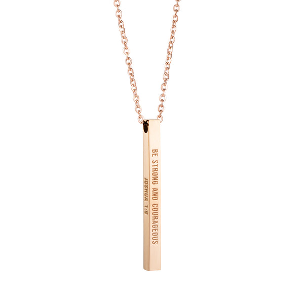Be Strong and Courageous, JOSHUA 1:9 Christain Bar Necklace