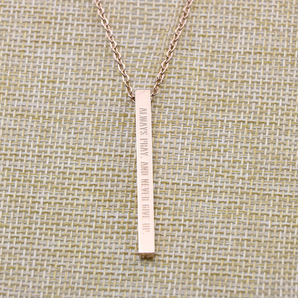 Always Pray and Never Give Up,Luke 18:1 Christain Bar Necklace