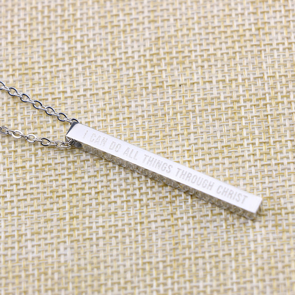 I Can Do All Things Through Christ Who Strengthens Me, Philippians 4:13 Christain Bar Necklace