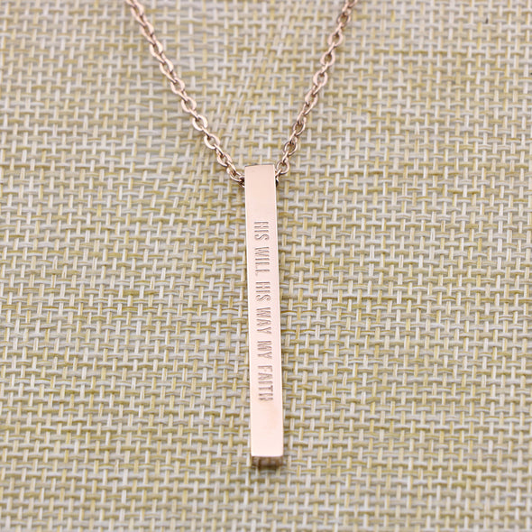 His Will His Way My Faith, Jeremiah 29:11 Christain Bar Necklace