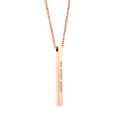 Pray without ceasing, 1Thessalonians 5:17 Christain Bar Necklace