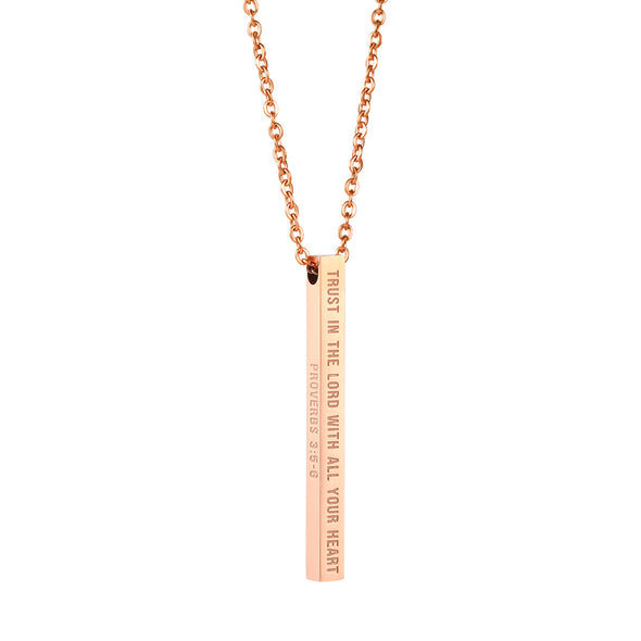 Trust In the Lord with All Your Heart, Proverbs 3:5-6 Christain Bar Necklace