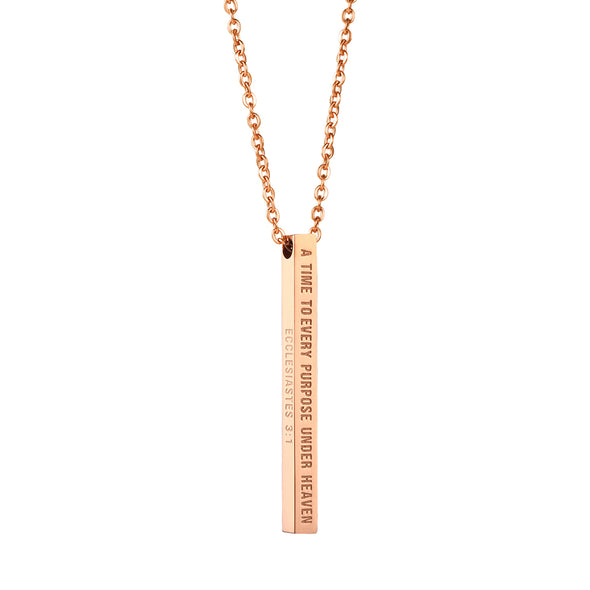 A Time to Every Purpose Under Heaven, Ecclesiastes 3:1 Christain Bar Necklace