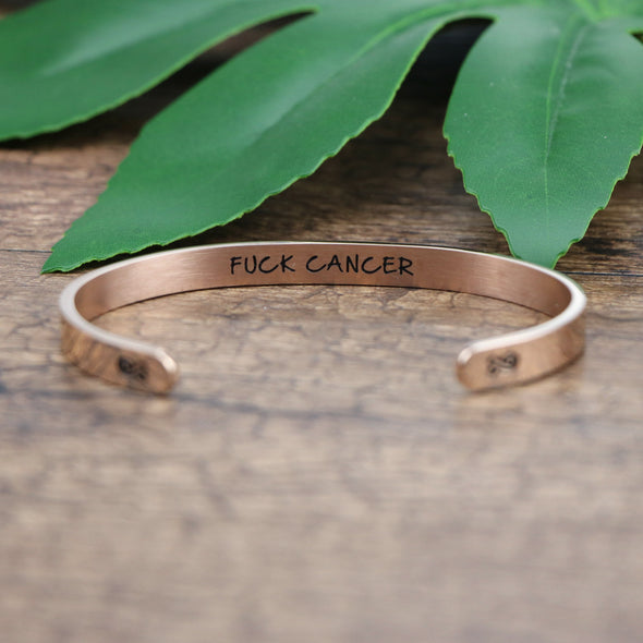 Fuck Cancer Mantra Cuff Bracelet Hidden Message Cancer Survivor Gift for Women
