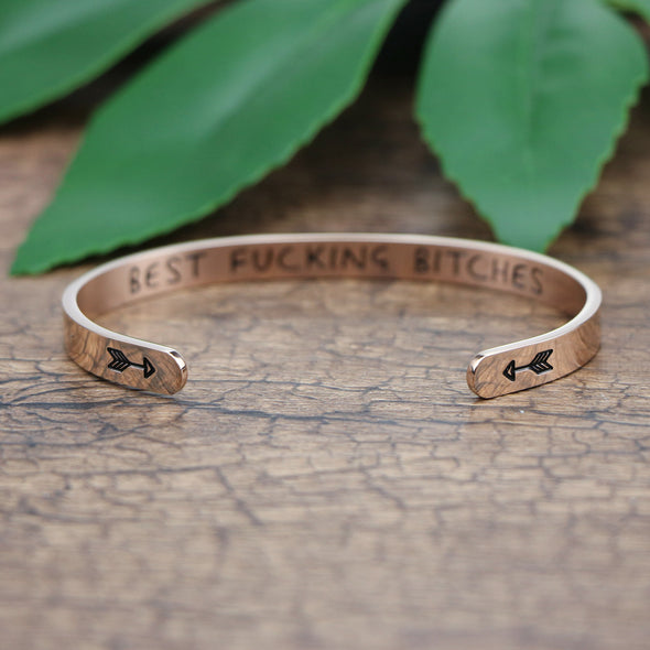 Best Fucking Bitches Hidden Message Cuff Bracelet
