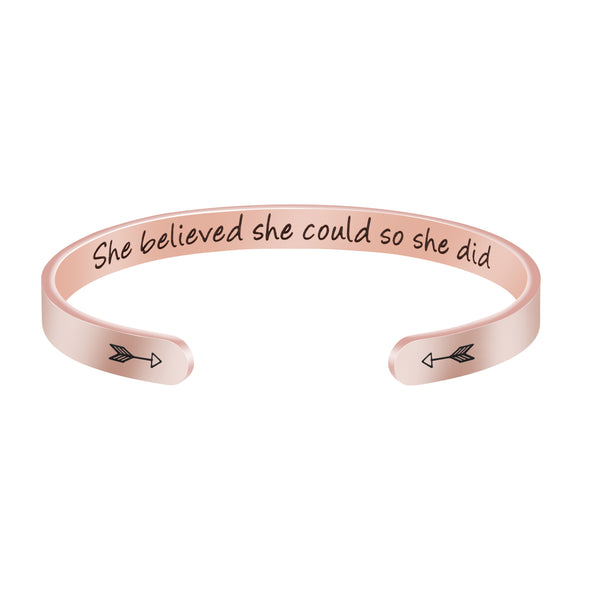 She Believed She Could So She Did Hidden Message Cuff Bracelet