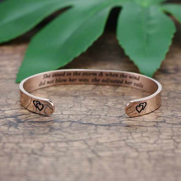 She Stood in the Storm Wide Hidden Message Cuff Bracelets