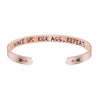 Wake Up Kick Ass Repeat Mantra Hidden Message Cuff Bracelet