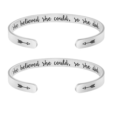 She Believed She Could So She Did Set of 2 Bracelets
