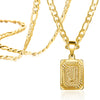 Figaro Chain Square Initial Necklace Letter A-Z