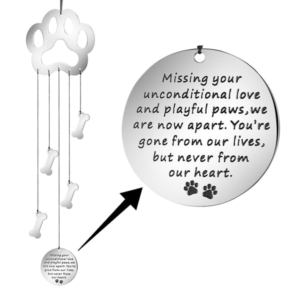Dog Memorial Wind Chime Missing Your Unconditional Love And Playful Paws