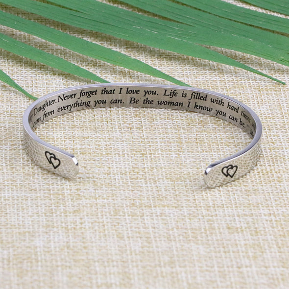 To Daughter From Mom Gift Cuff Bracelets Braver Stronger
