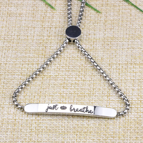 Just Breathe Adjustable Chain Women Yoga Jewelry