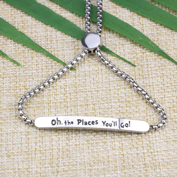 Oh The Places You'll Going Adjustable Chain Link Jewelry