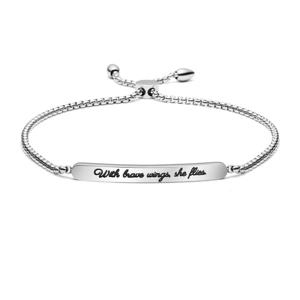 With Brave Wings She Flies Adjustable Chain Link Bracelet