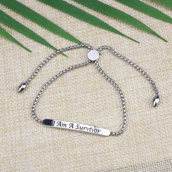 I Am A Survivor Adjustable Chain Link Bar Bangle