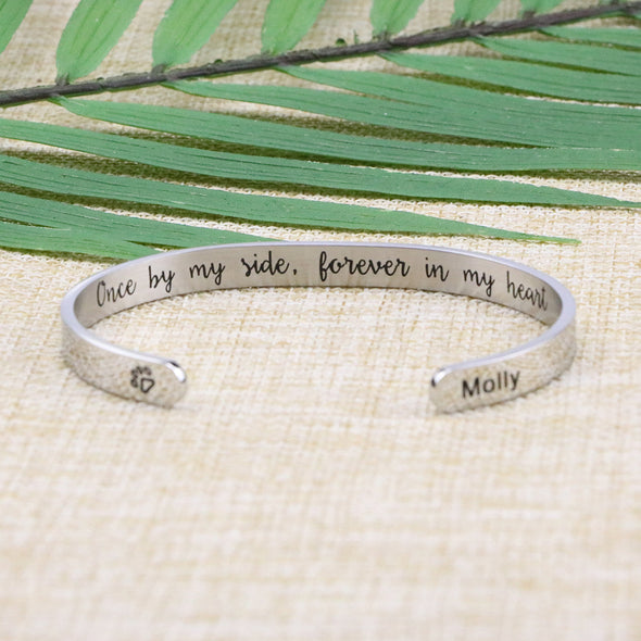 Molly Pet Memorial Jewelry Animal Remembrance Cuff for Pet Lovers