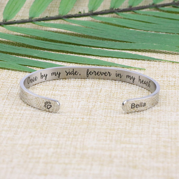 Personalized Dog Remembrance Cuff Bracelets for Pet Lovers