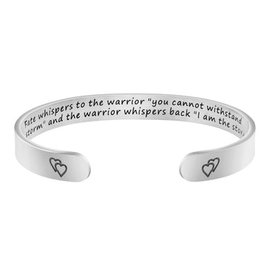 Fate Whispers to the Warrior Inspirational I Am Storm Cuff