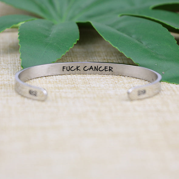 Fuck Cancer Mantra Cuff Bracelet
