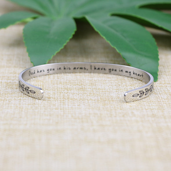 God Has You in His Arms, I Have You in My Heart Hidden Message Cuff Bracelet