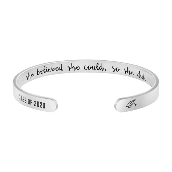 She Believed She Could So She Did Hidden Message Cuff Bracelet Graduation Gift for Women
