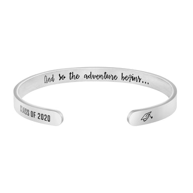 Class of 2020 And So Adventure Begins Mantra Cuff Hidden Message Bracelet Graduation Gift for Her