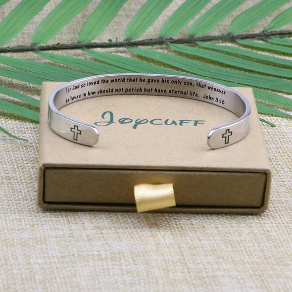 For God So Loved The World Christian Religious Hidden Message Cuff Bracelet