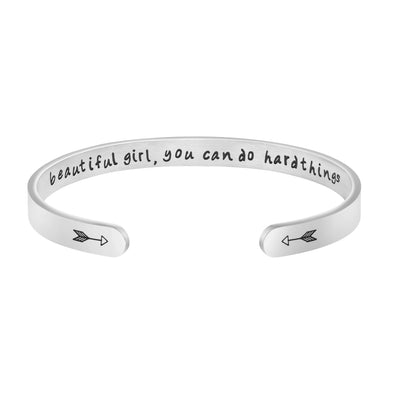Beautiful Girl You Can Do Hard Things bracelets