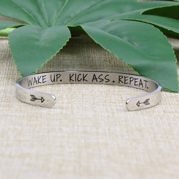 Wake Up Kick Ass Repeat Mantra Jewelry