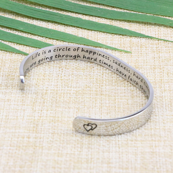 Life is a Circle of Happiness Sadness Hard time inspirational bracelets