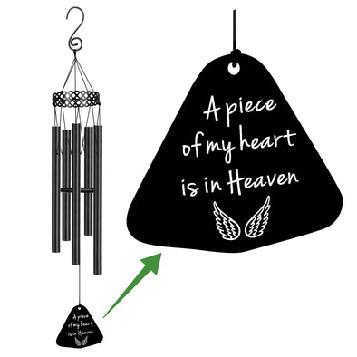 A Piece of My Heart is in Heaven - Loss of Loved Ones - Memorial Wind Chime - Sympathy Gift