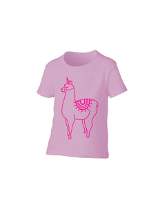 Llamacorn T-Shirt Pink Girls Girl