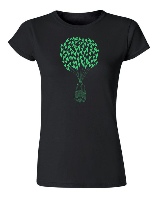 Heart Air Balloon T Shirt Black