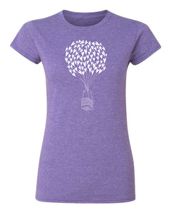 Heart Air Balloon T Shirt Purple