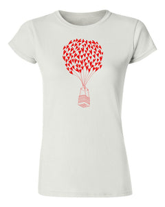 Heart Air Balloon T Shirt White