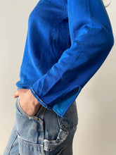60's Blue Turtle Neck Knit Jersey Shirt