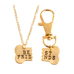 Best Friend Dog Bone Pendant Keychain Set