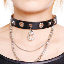Load image into Gallery viewer, Gothic Punk Black Leather Choker Necklace