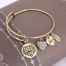 Load image into Gallery viewer, Lotus Love Charm Bangle