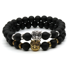 Load image into Gallery viewer, Matte Stone Owl Handmade Bracelet 2