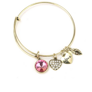 October Birthstone Charm Bangle